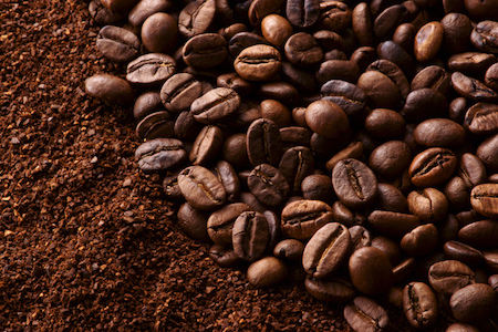 Coffee beans and ground coffee